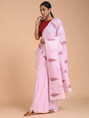 Pink Cotton Linen Saree