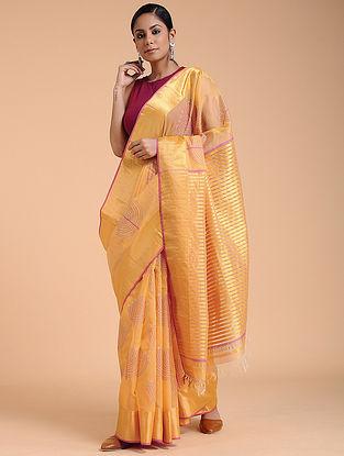 Orange-Pink Block-printed Chanderi Saree with Zari