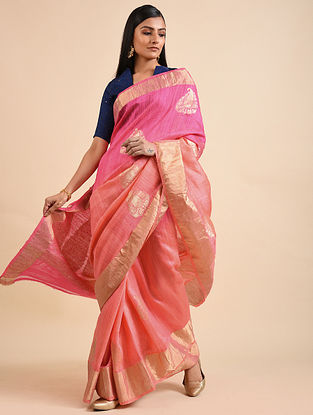 Pink Handwoven Benarasi Dupion Silk Saree with Zari