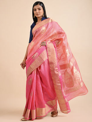 Onion Pink Handwoven Benarasi Dupion Silk Saree with Zari