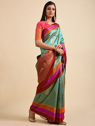 Blue-Rust Handwoven Benarasi Silk Saree