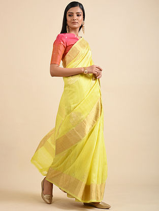 Lime Yellow Handwoven Benarasi Dupion Silk Saree with Zari