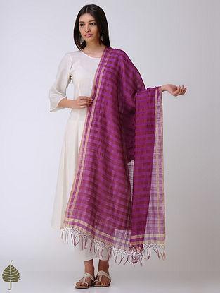 Purple-Maroon Stripes Cotton Silk Dupatta with Zari Border
