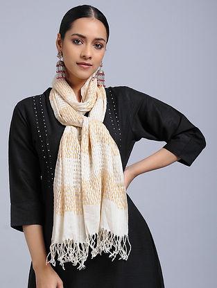 Ivory-Beige Cotton Silk Stole