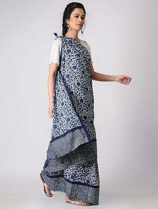 Indigo Constructed Bagru Natural-dyed Cotton Saree by Jaypore