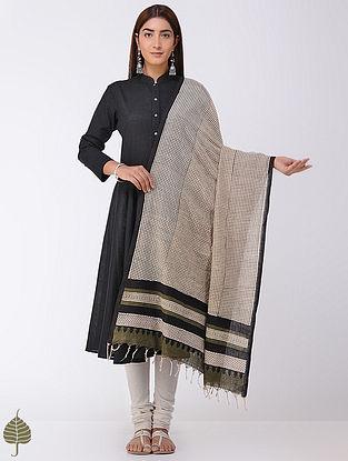 Olive-Black Natural-dyed Bagru-printed Cotton Dupatta by Jaypore
