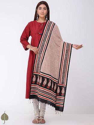Madder-Black Natural-dyed Bagru-printed Cotton Dupatta by Jaypore