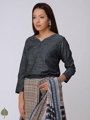 Black Handloom Cotton Tie-up Blouse by Jaypore