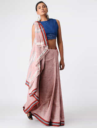 Blue Handloom Cotton Ikat Blouse by Jaypore-XL
