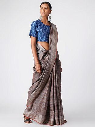 Blue Handloom Cotton Ikat Blouse by Jaypore