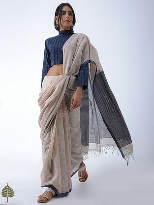 Indigo-Black Block-printed Cotton Blouse by Jaypore