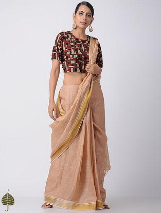 Brown-Beige Ajrakh Cotton Blouse by Jaypore