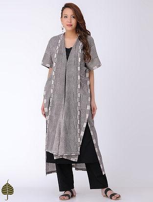 Ivory-Black Bagh-printed Cotton Kaftan with Dress (Set of 2)