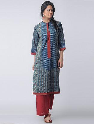 Indigo-Madder Block-printed Cotton Kurta by Jaypore