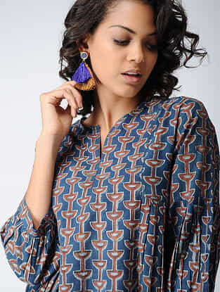 Indigo-Madder Block-printed Cotton Dress with Gathers