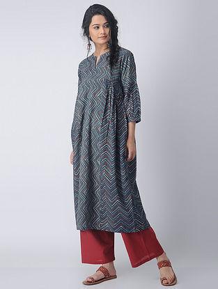Indigo-Madder Block-printed Cotton Kurta with Gathers by Jaypore