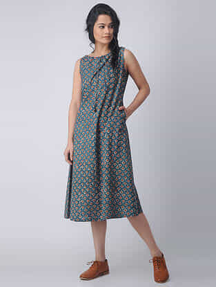 Indigo-Madder Block-printed Cotton Dress with Pockets by Jaypore