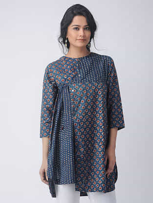 Indigo-Madder Block-printed Cotton Tunic with Tie-up by Jaypore