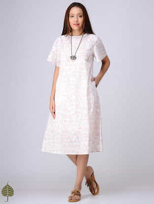 Red-White Block-printed Cotton Dobby Dress