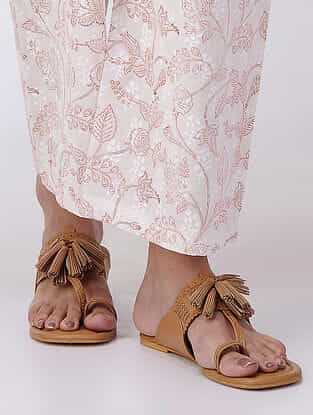 Peach-White Elasticated Waist Block-printed Cotton Dobby Pants