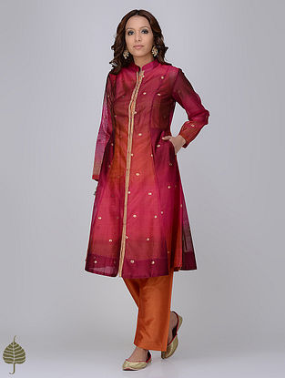 Fuchsia-Orange Zari Butti Chanderi Jacket with Silk Twill Dress by Jaypore (Set of 2)