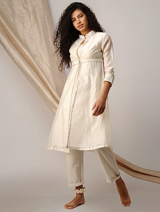 Ivory Silk Cotton Cutwork and Chanderi Kurta with Zari Detail