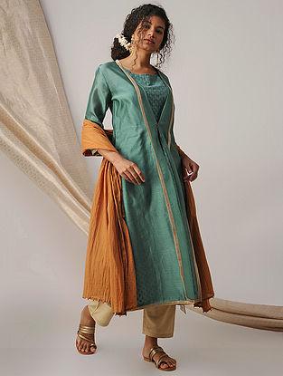 Green Silk Cotton Cutwork Kurta with Chanderi Jacket (Set of 2)