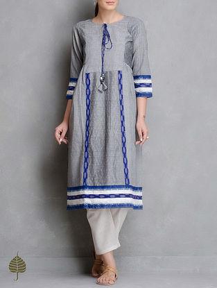 Grey-Blue Handloom Ikat Cotton Side Pleated Kurta by Jaypore