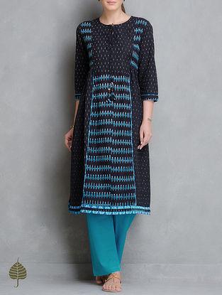 Black-Turquoise Handloom Ikat Cotton Side Pleated Kurta by Jaypore