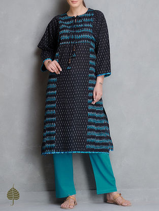 Black-Turquoise Dori Detail Handloom Ikat Cotton Kurta by Jaypore