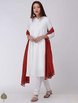 White Cotton Dobby Kurta by Jaypore