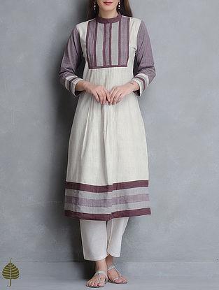 Ecru-Madder Pleated Natural Dye Handloom Cotton Kurta By Jaypore