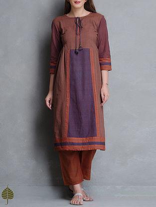 Brown-Purple Side Pleated Natural Dye Handloom Cotton Kurta By Jaypore