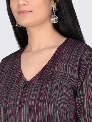 Black-Maroon Handloom Cotton Jacket with Slip by Jaypore (Set of 2)