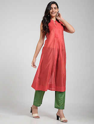 Red Silk-cotton Kurta with Pleats