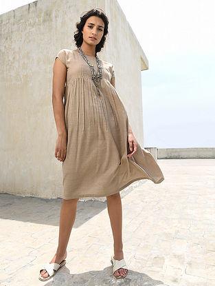 Beige Pintuck Handloom Silk Dress by Jaypore