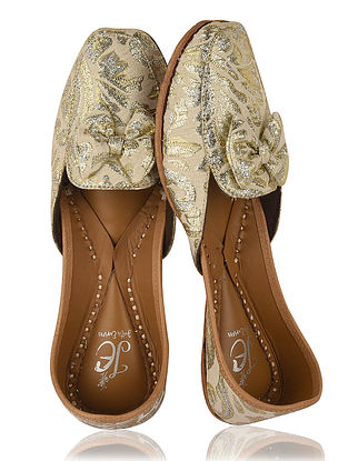 White-Golden Handcrafted Leather Loafers