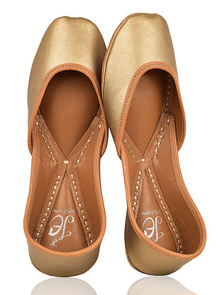 Golden Handcrafted Leather Juttis