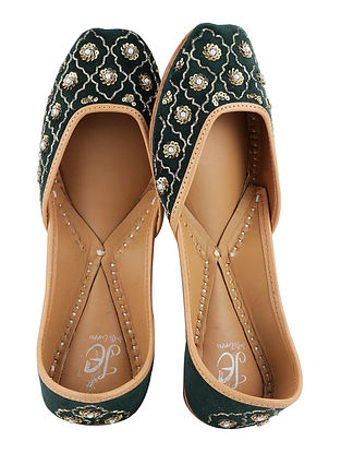 Dark Green-Gold Handcrafted Velvet Juttis