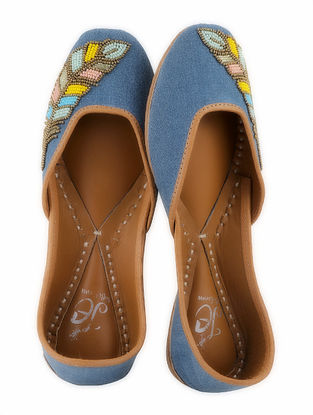 Blue-Multicolored Handcrafted Denim Juttis with Cut Dana Work