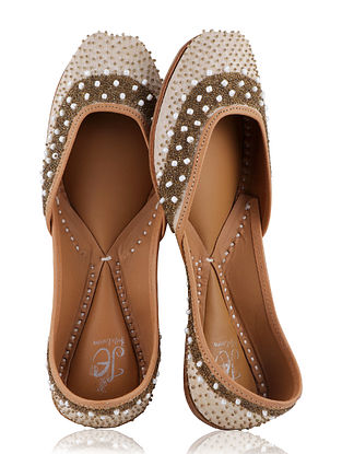 Beige-Gold Handcrafted Juttis with Pearls