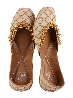 Beige-Gold Handcrafted Juttis with Cut Dana Work and Ghungroo