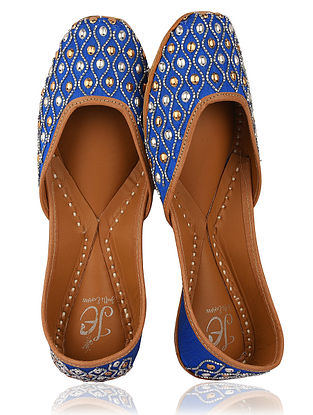 Blue Embroidered Silk Juttis