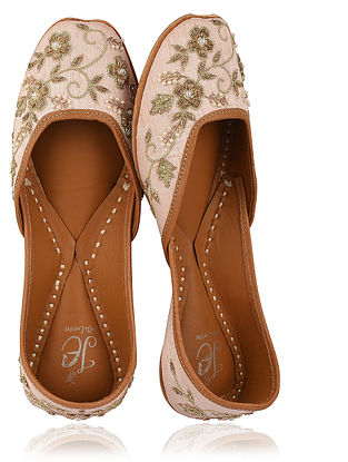 Powder Pink-Gold Zari Embroidered Silk Juttis