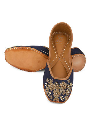 Blue Gold Handcrafted Leather Juttis