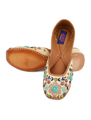 Beige Multicolored Handcrafted Leather Juttis with Thread Work
