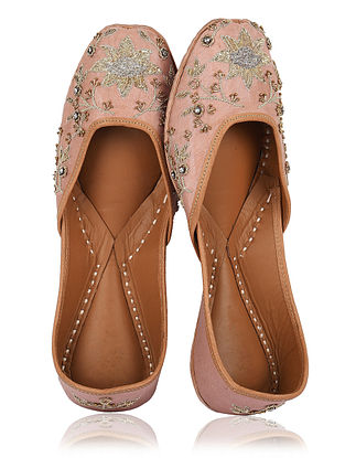 Pink Gold Handcrafted Embroidered Shantoon Silk and Leather Juttis