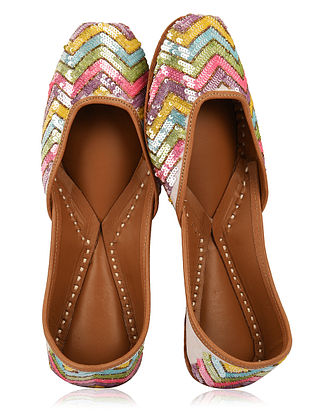 Multicolored Handcrafted Sequin Embroidered Shantoon Silk and Leather Juttis