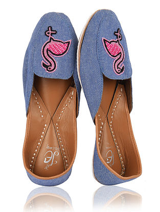 Blue Pink Handcrafted Denim and Leather Loafers