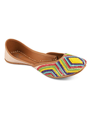Multicolored Pearl Work Silk Juttis